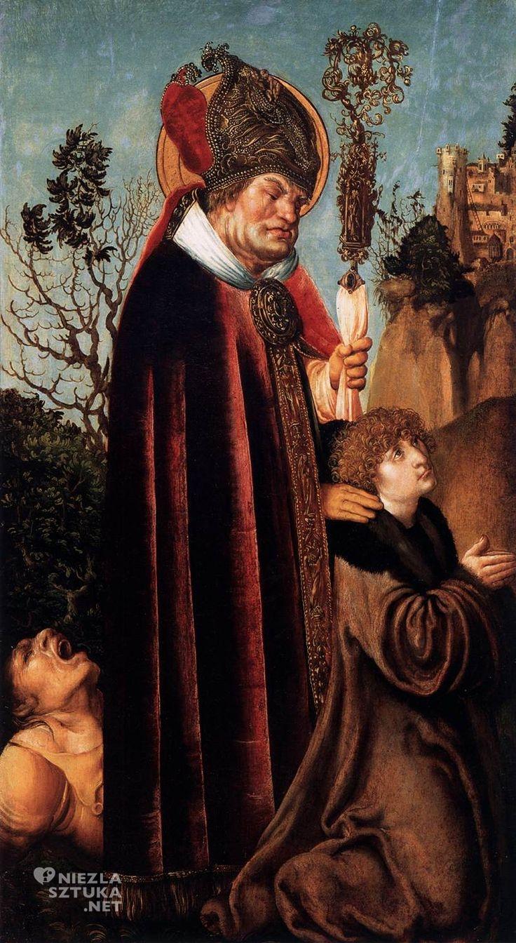 Lucas Cranach starszy, Święty Walenty z donatorem, ok. 1502 tempera, deska, 91 x 50 cm Österreichische Galerie Belvedere, Wiedeń