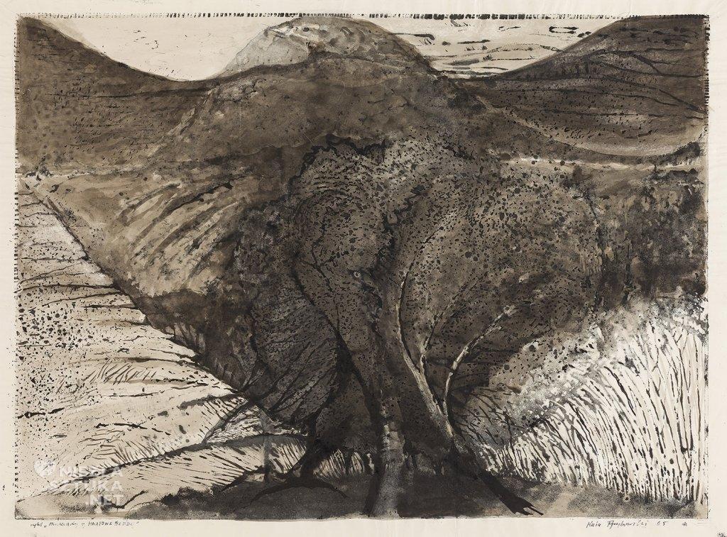 Cykl Bieszczady – Hnatowe Berdo | 1965, tusz, odcisk, papier 49,5x68, własność Miejskiej Galerii Sztuki w Łodzi