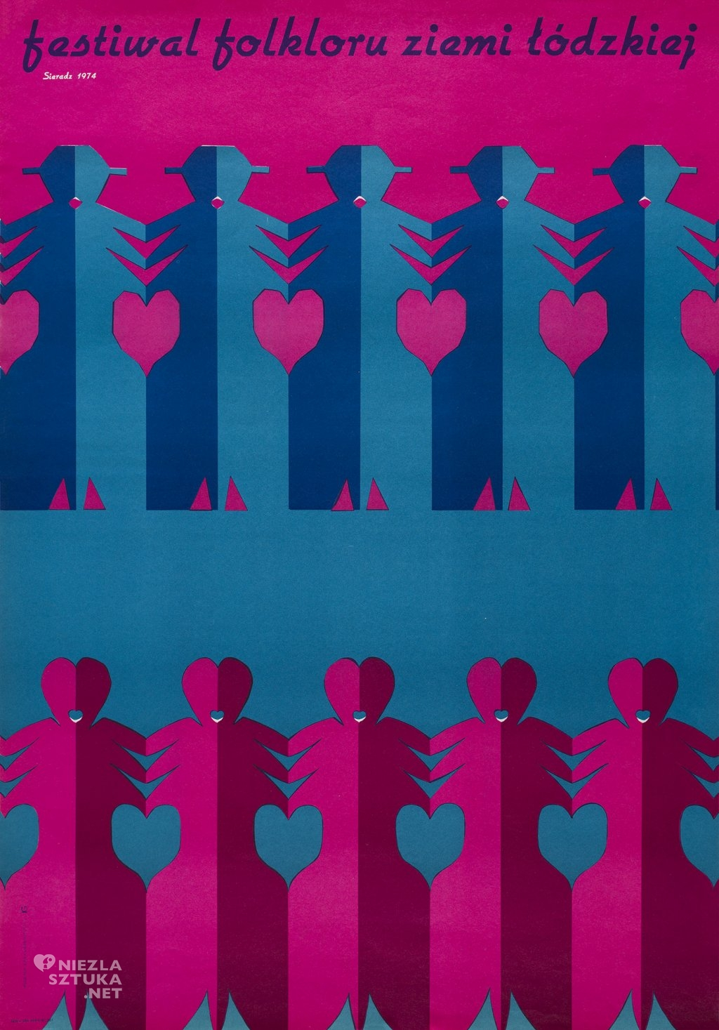 Festiwal folkloru ziemi łódzkiej Sieradz 1974, offset barwny, papier 97,5x67,5 cm