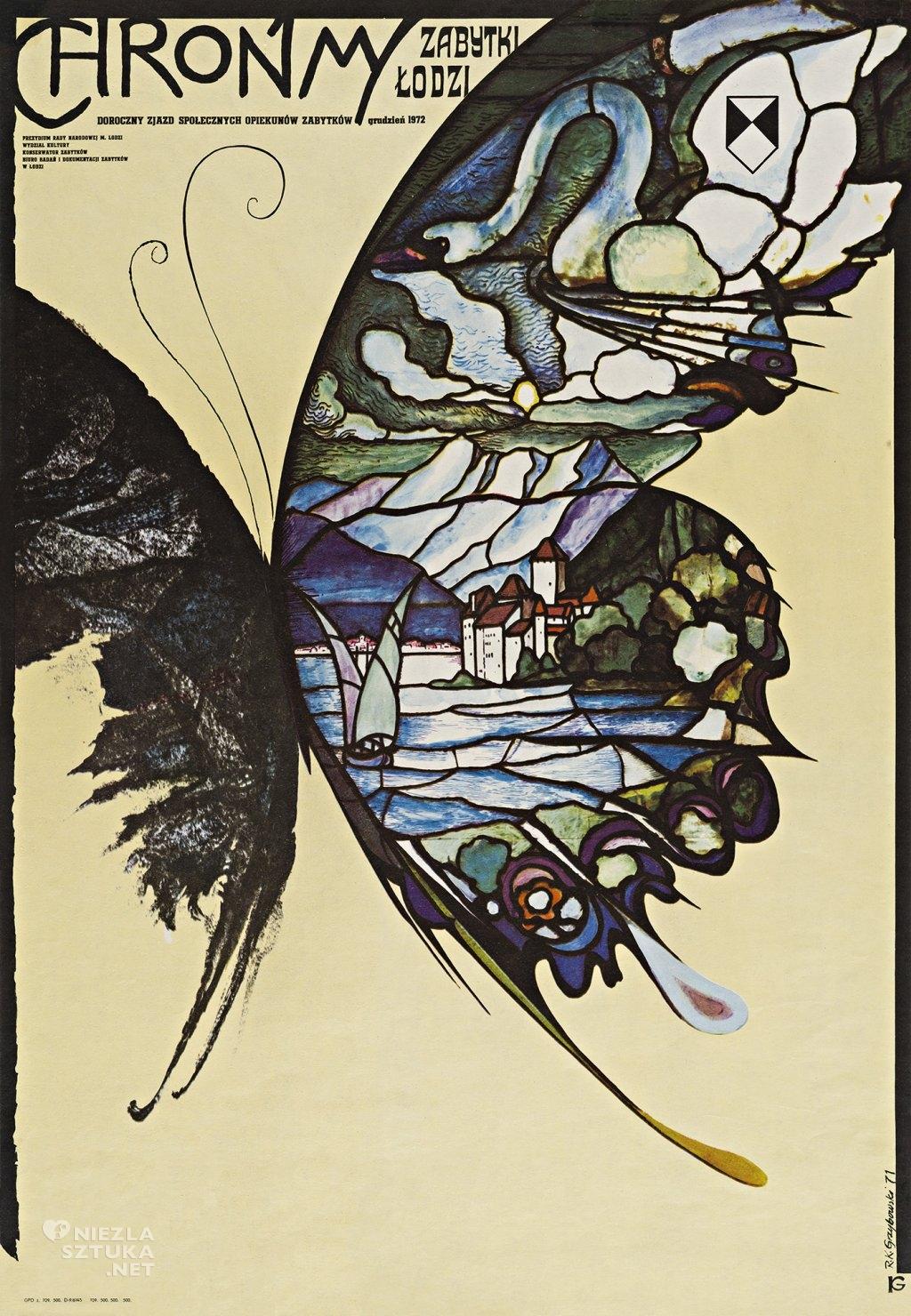 Chrońmy zabytki Łodzi. Doroczny zjazd społecznych opiekunów zabytków grudzień 1972, offset barwny, papier 83,5x58 cm