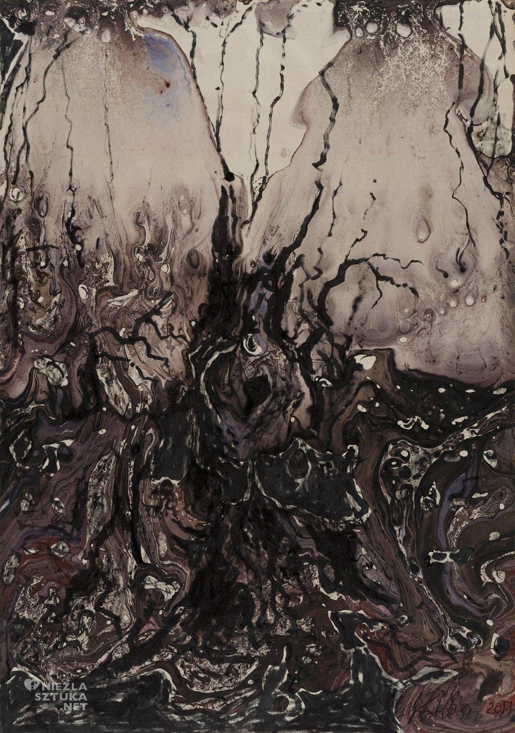 Granica II | 2017, tusz, akryl 35x25,5 cm