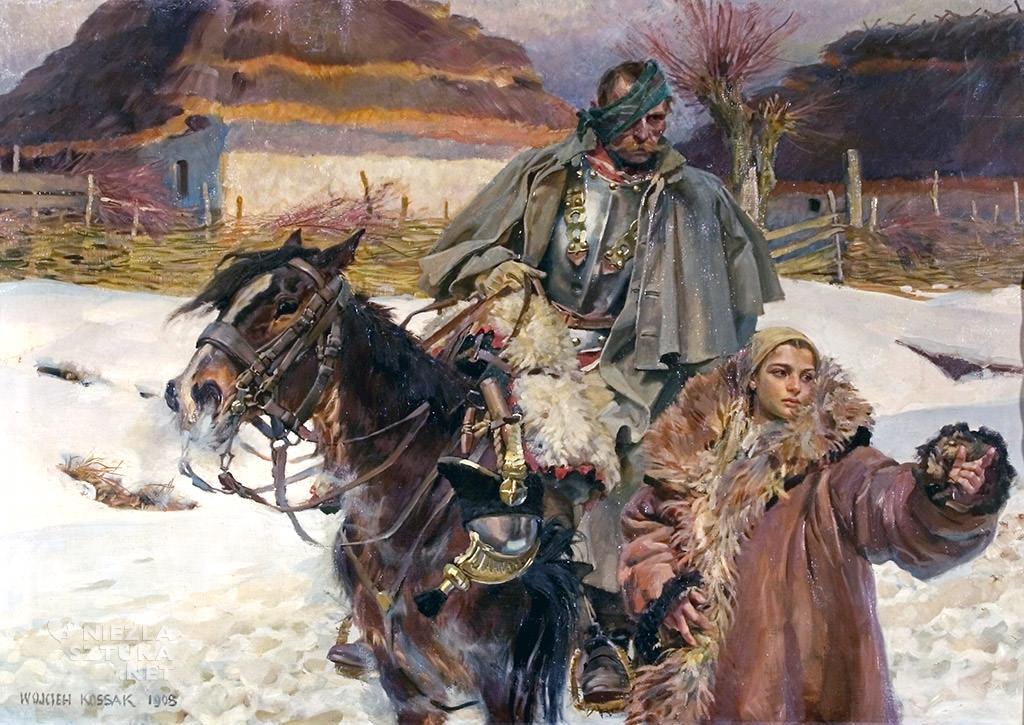 Wojciech Kossak Ranny kirasjer i dziewczyna