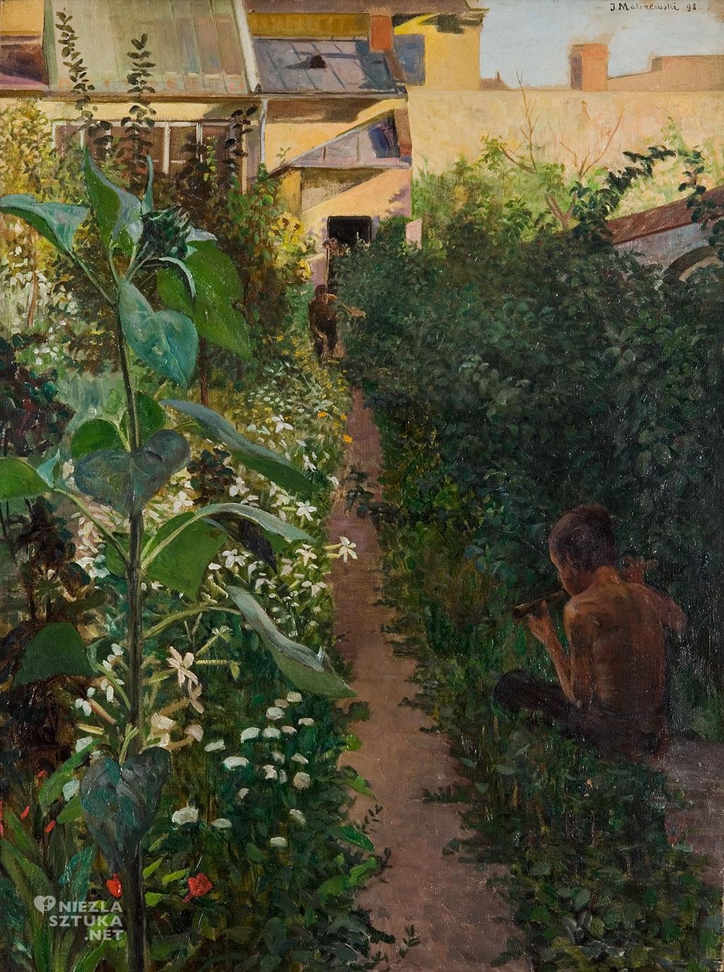 Jacek Malczewski, W ogrodzie   1898, olej,płótno, Muzeum Pałac Herbsta, Oddział Muzeum Sztuki w Łodzi