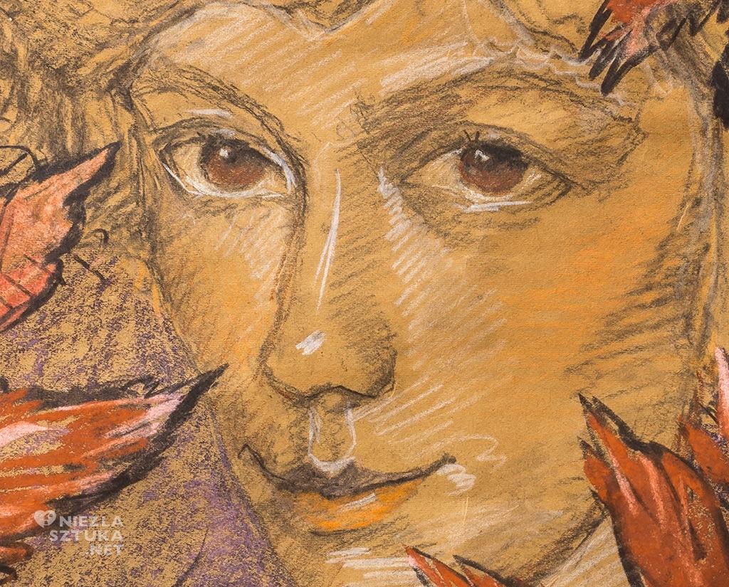 Stanisław Ignacy Witkiewicz, Portret Zofii Małeckiej (w liściach) [detal] |1927, pastel, papier, zbiory prywatne