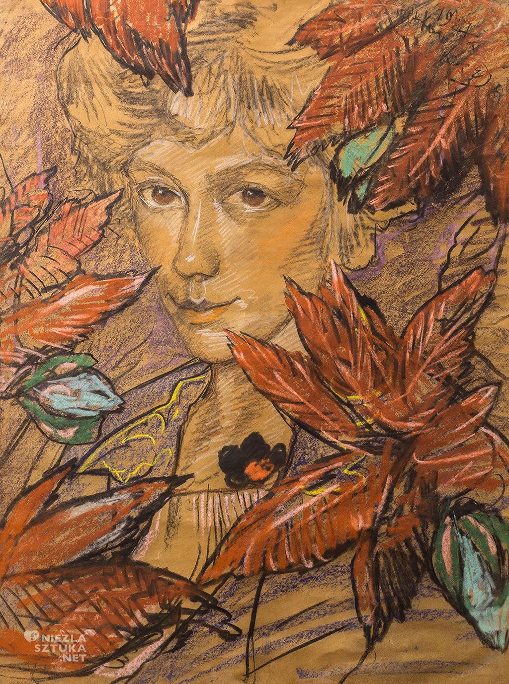 Stanisław Ignacy Witkiewicz, Portret Zofii Małeckiej (w liściach) |1927, pastel, papier, zbiory prywatne