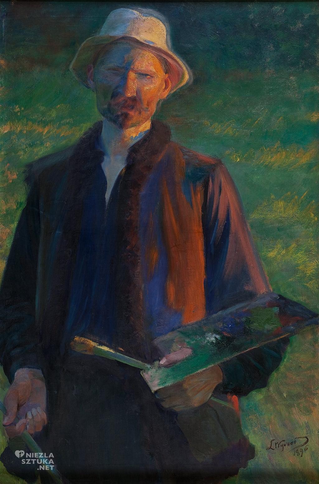 Leon Wyczółkowski, Autoportret z paletą |1896, Muzeum Pałac Herbsta Muzeum Sztuki w Łodzi, malarstwo polskie, Niezła sztuka