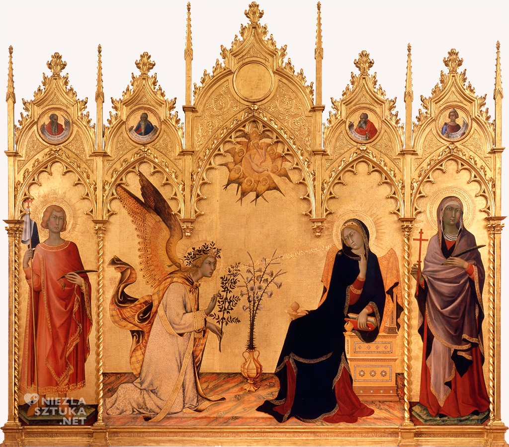 Simone Martini, Lippo Memmi, <em>Zwiastowanie</em>, 1333, tempera, drewno, Galeria Uffizi, Florencja