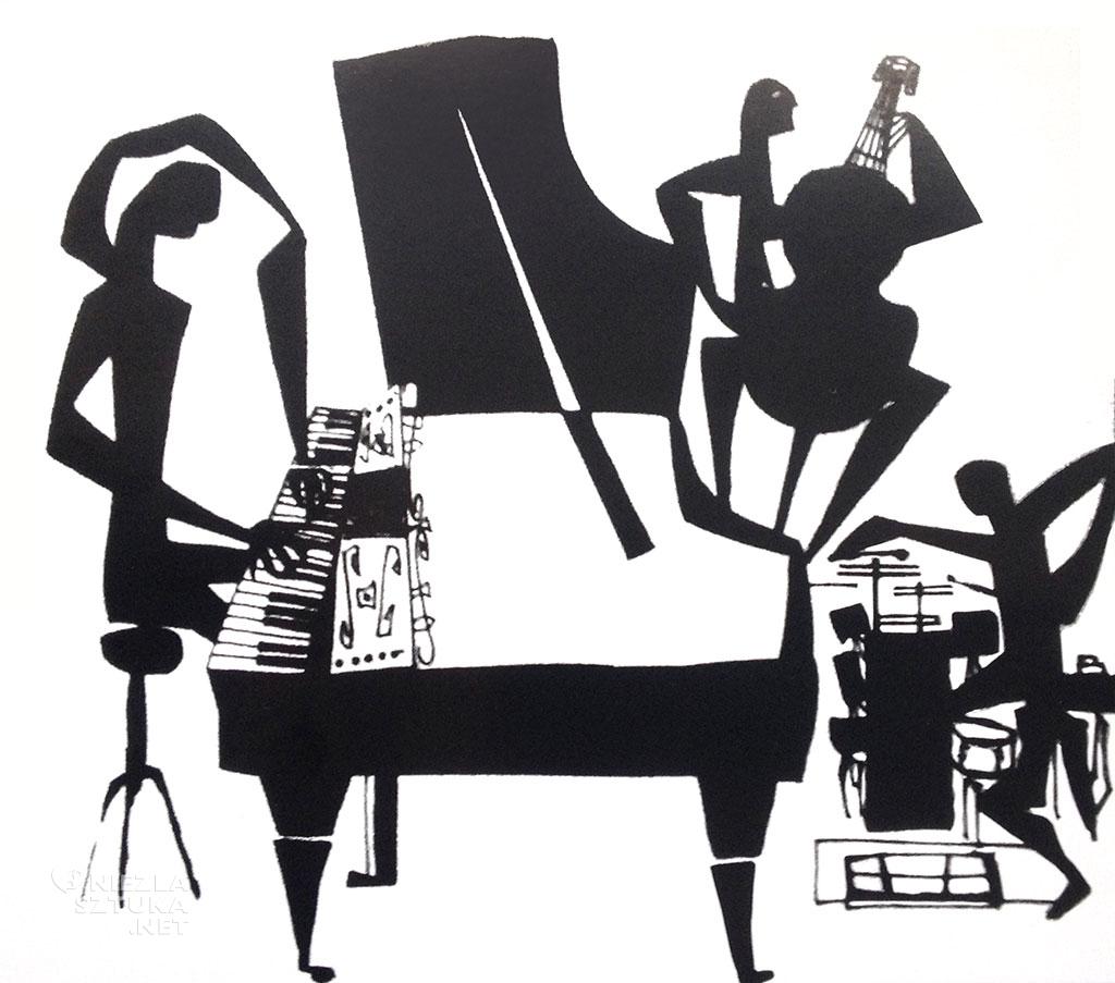 Henryk Płóciennik Oskar Peterson trio, rysunek tuszem na papierze | 1958