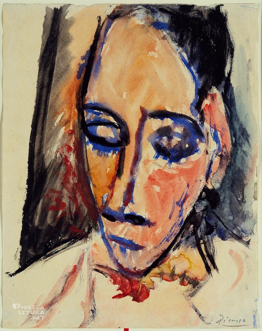 Pablo Picasso, Szkic do obrazu Panny z Awinionu, 1907, akwarela, papier, Museum of Modern Art, Nowy Jork, Niezła sztuka
