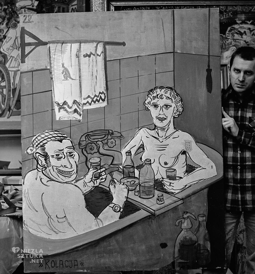 Edward Dwurnik, Portret z obrazem z cyklu Sportowcy - Kolacja, 1972, fot. Teresa Gierzyńska