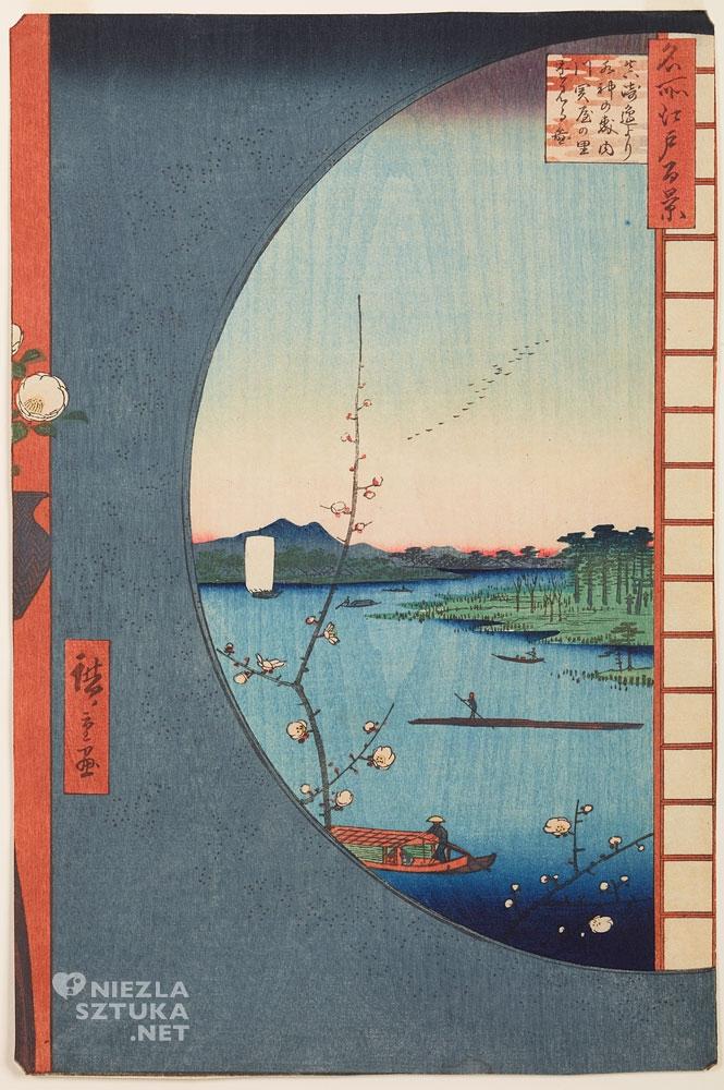 Utagawa Hiroshige Widok z okna na rzekę Uchikawa, lasy za świątynią Suijin i wioskę Sekiya, Niezła sztuka