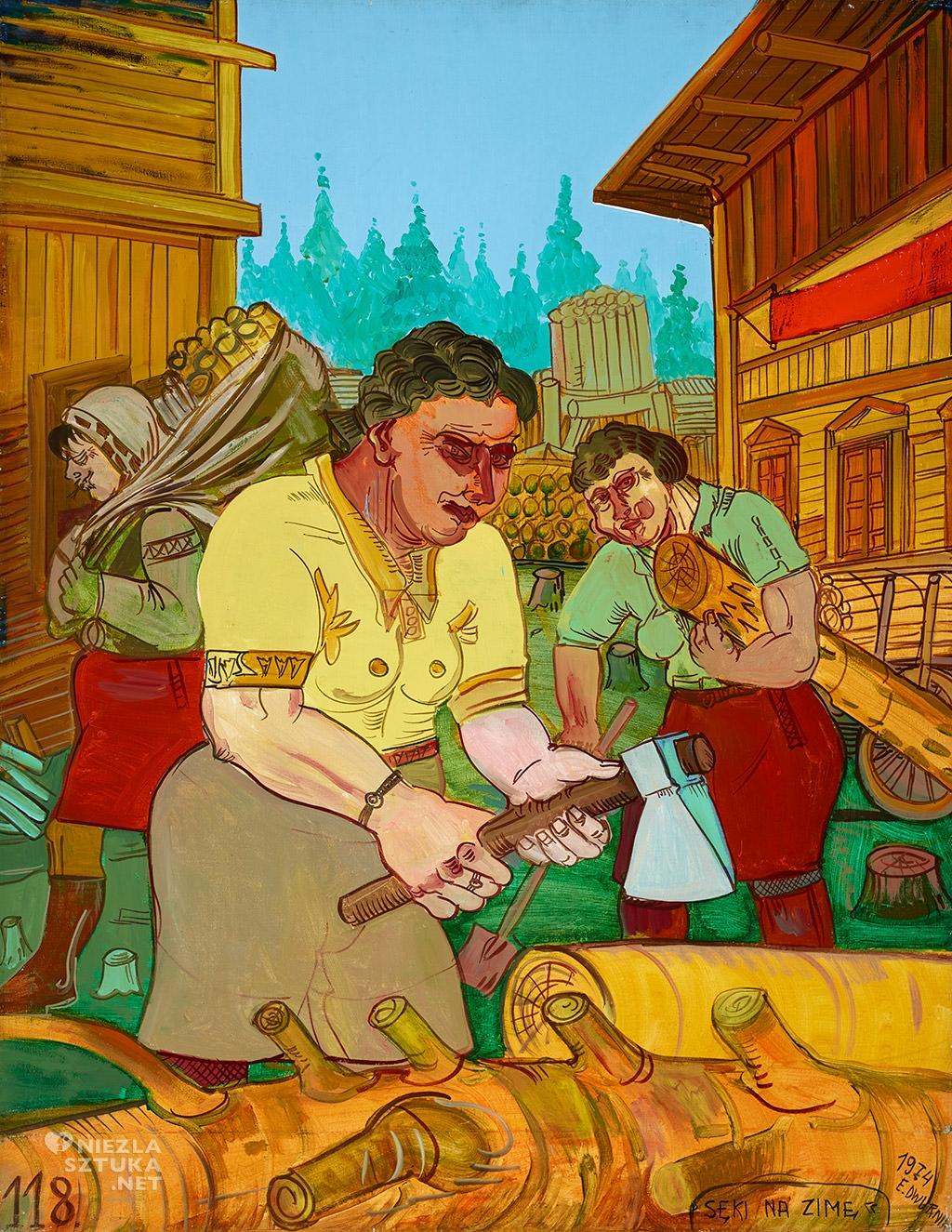 Edward Dwurnik obraz Sęki na zimę Niezła sztuka