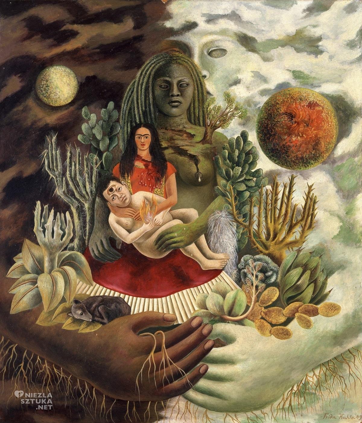 Frida Kahlo Miłosny uścisk wszechświata, Ziemia, Ja, Diego i Pan Xolotl
