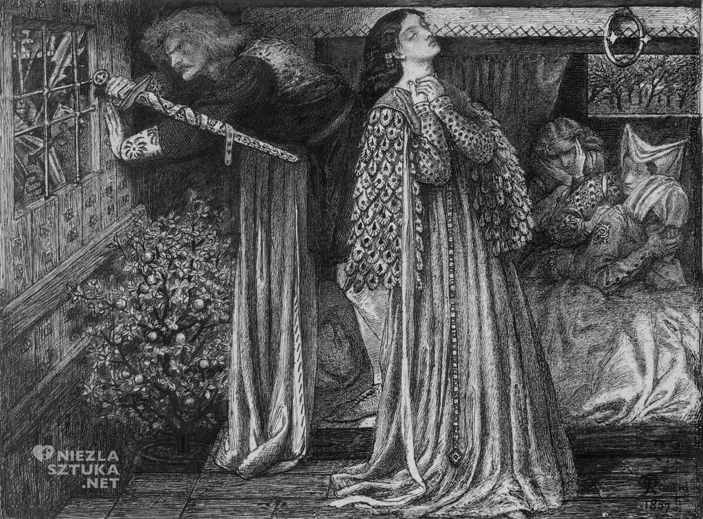 Rossetti, Sir Lancelot w komnacie królowej prerafaelici malarstwo sztuka XIX wieku
