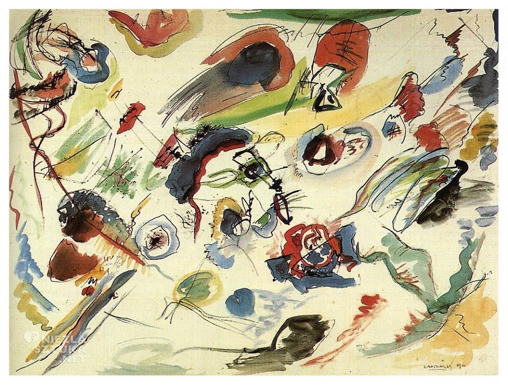 Wassily Kandinsky, Bez tytuł, pierwsza akwarela abstrakcyjna, sztuka rosyjska, abstrakcja, XX wiek, Niezła Sztuka
