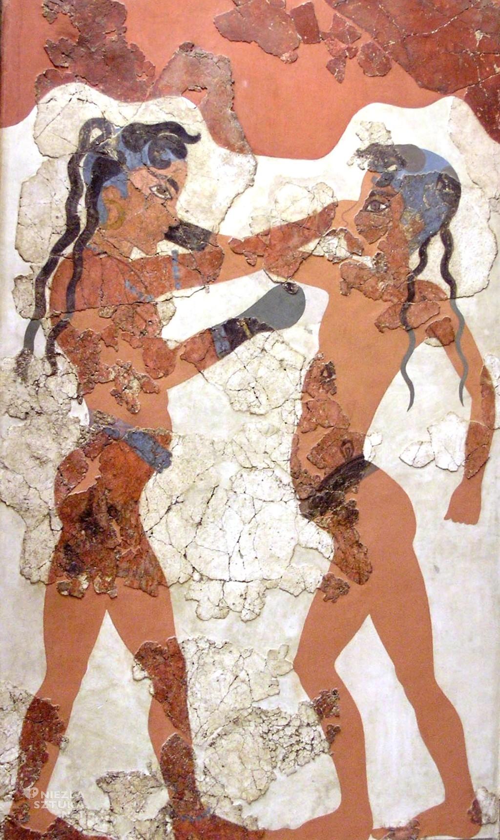 fresk, boks, starożytna grecja, rękawiczka, Niezła sztuka