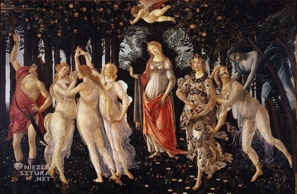 Sandro Botticelli Wiosna Botticelli Primavera, Giuliano de Medici, Wiosna, Simonetta Vespucci, ok. 1477-1482 tempera, deska, 203 × 314 cm, Galeria Uffizi, Florencja