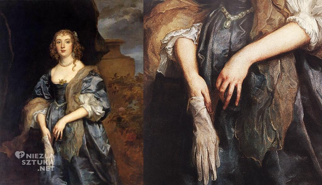 Anton van Dyck, Portret Lady Anne Carr, portret, rękawiczka, Niezła sztuka