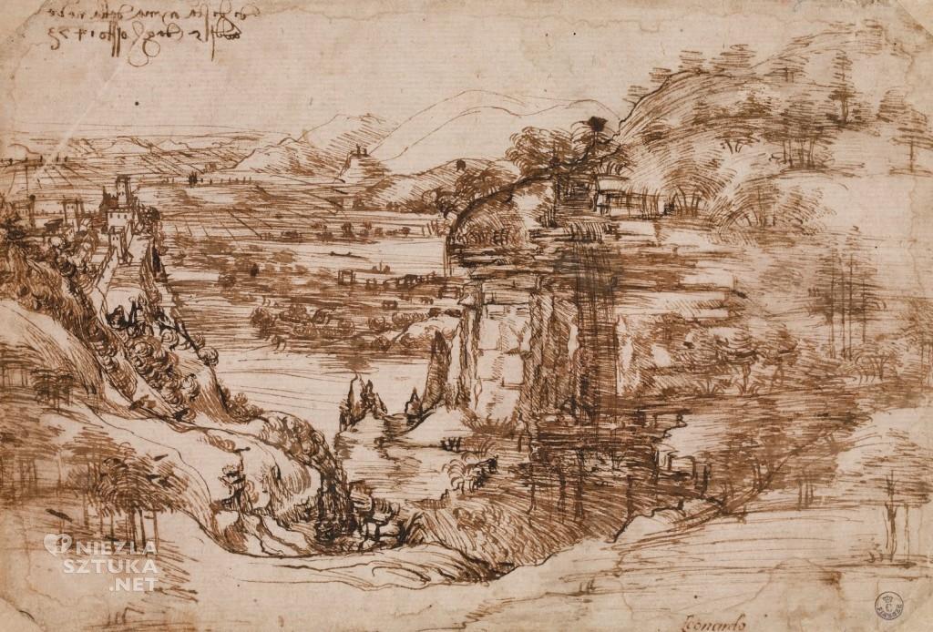 Leonardo da Vinci, Krajobraz toskański, dolina z rzeką Arno, sztuka włoska, Niezła sztuka