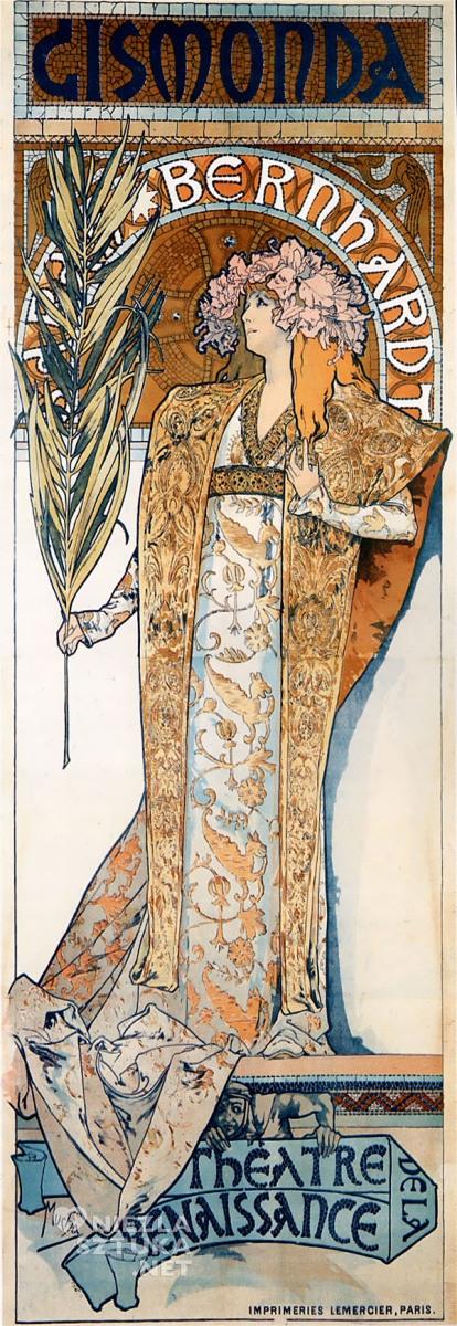 Alfons Mucha Sarah Bernhardt secesja afisz malarstwo www.niezlasztuka.net