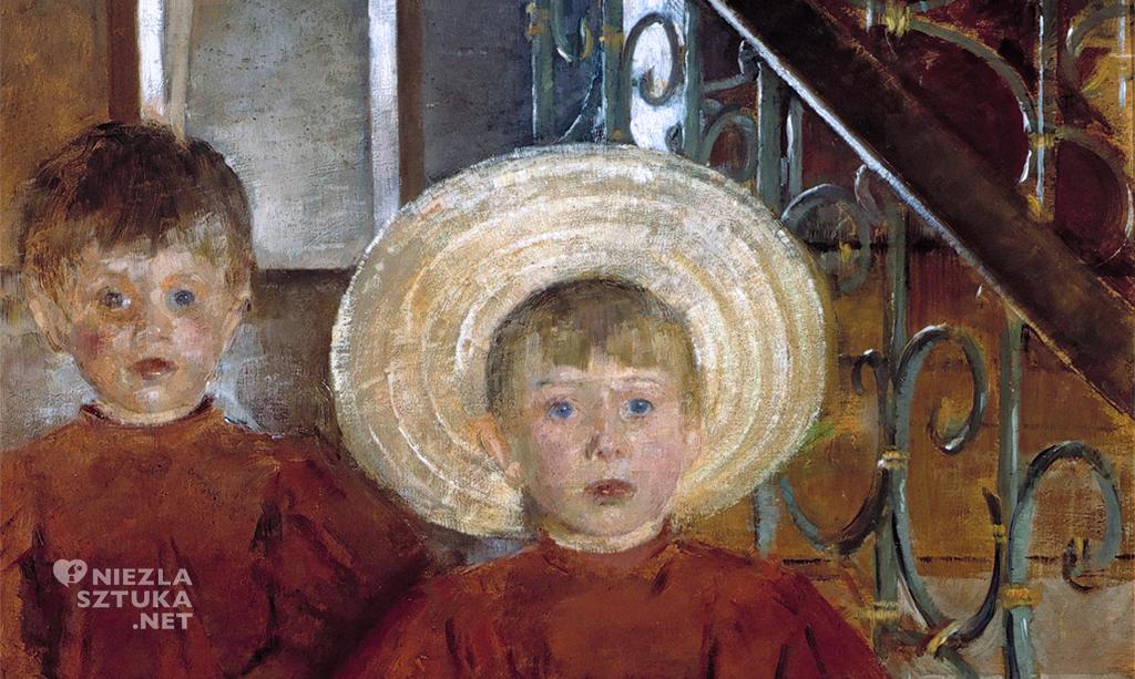 Olga Boznańska, Dwoje dzieci na schodach, Dzieci siedzące na schodach, sztuka polska, malarstwo polskie, Niezła sztuka