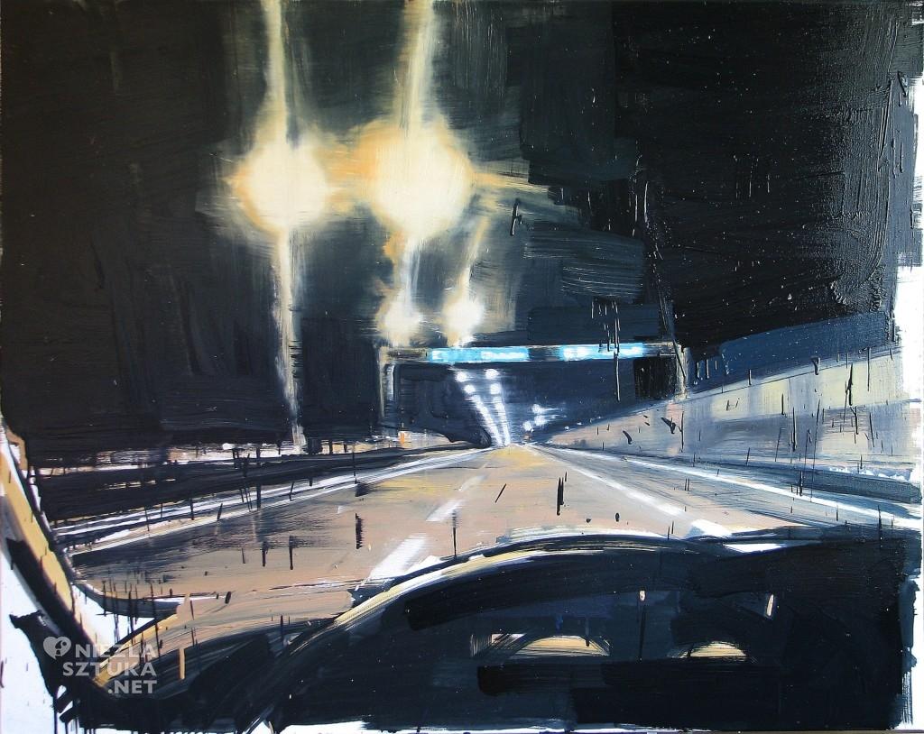 'Jadę równo, a drogi ciągle, kurwa, przybywa', 2014, 95x120 cm, olej na płótnie