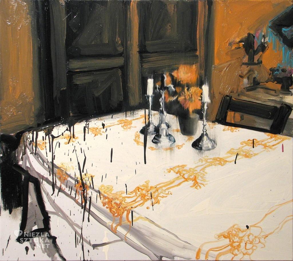 'Rysunek na ceracie', 2014, 80x90 cm, olej na płótnie