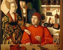 """Petrus Christus """"św. Eligiusz w pracowni"""", 1449"""