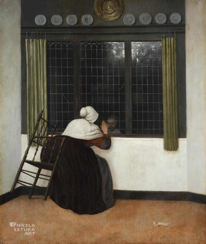 Jacobus Vrel, Kobieta przy oknie, machająca do dziewczynki. Fundacja Custodia, Niezła sztuka