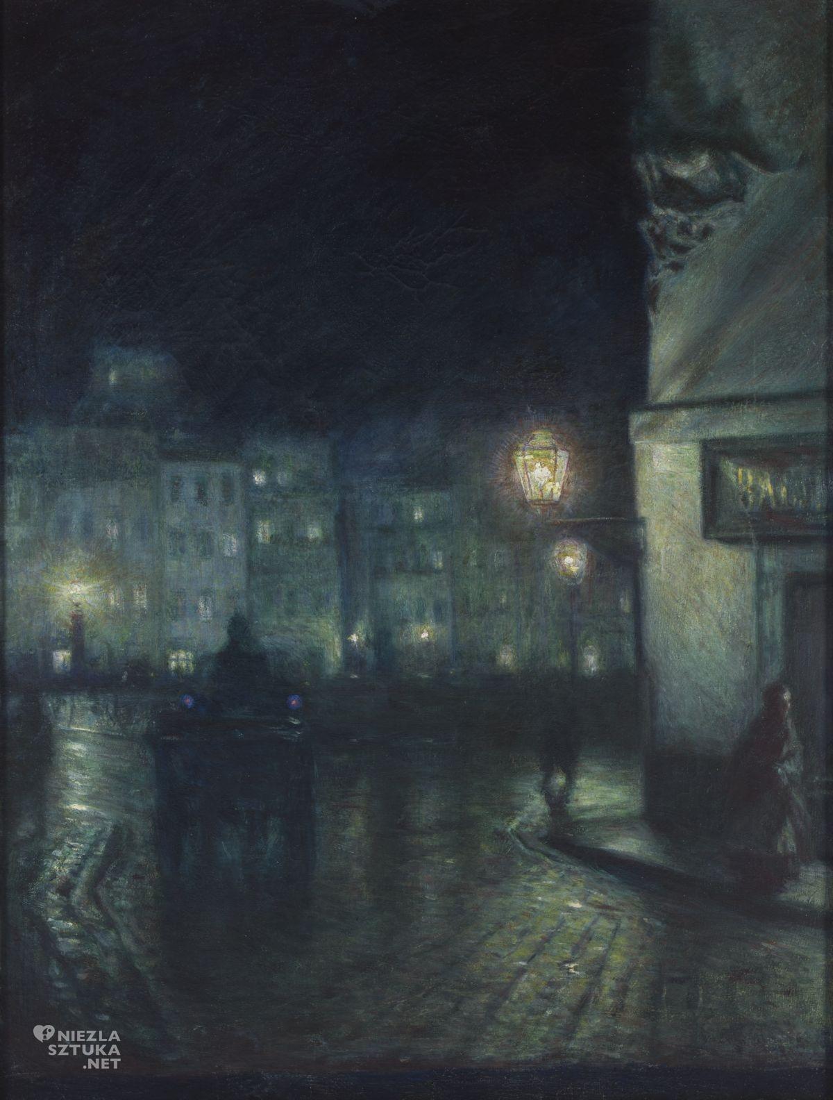 Józef Pankiewicz, Rynek Starego Miasta w Warszawie nocą, weduta, sztuka polska, malarstwo polskie, Niezła sztuka