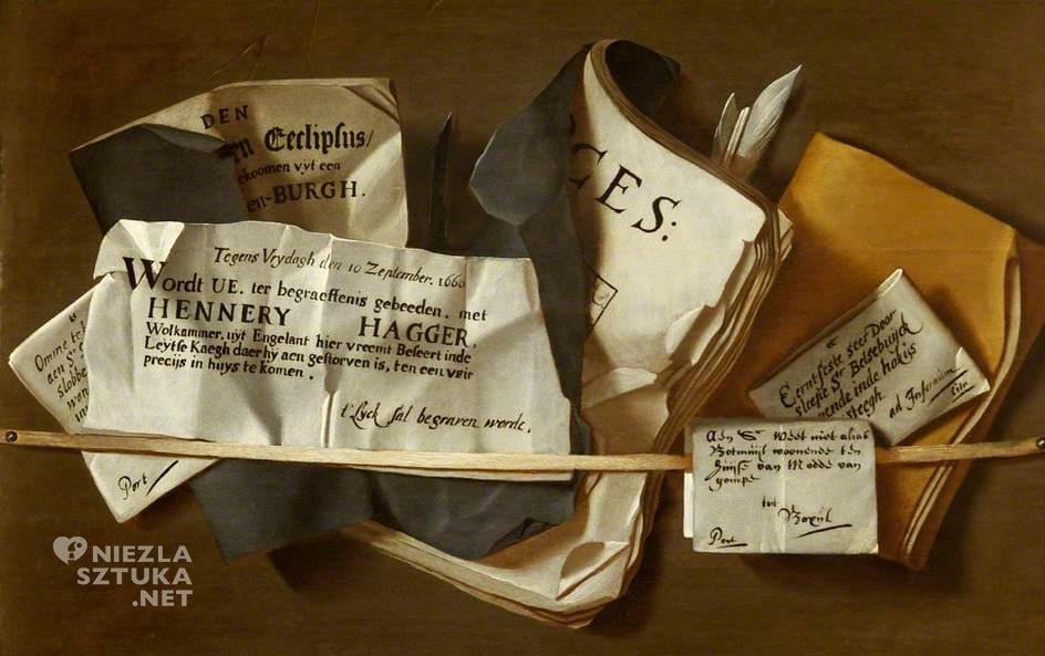 malarstwo holenderskie Stojak na korespondencję z nekrologami trompe l'oeil iluzja malarstwo iluzjonistyczne sztuka