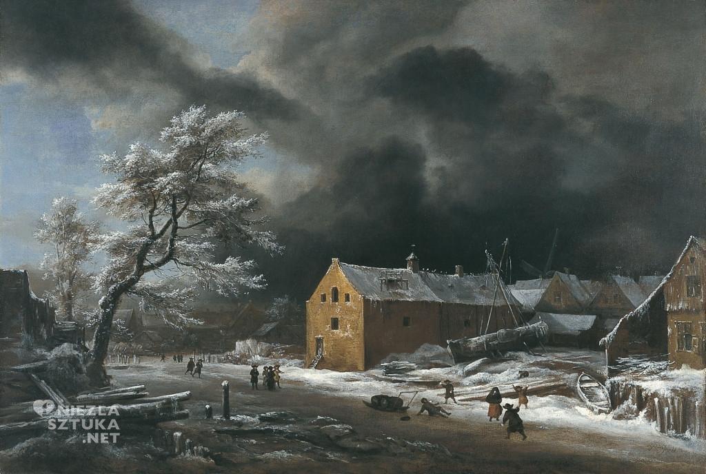 Jacob van Ruisdael, Pejzaż zimowy, zima, krajobraz, malarstwo holenderskie, Niezła Sztuka