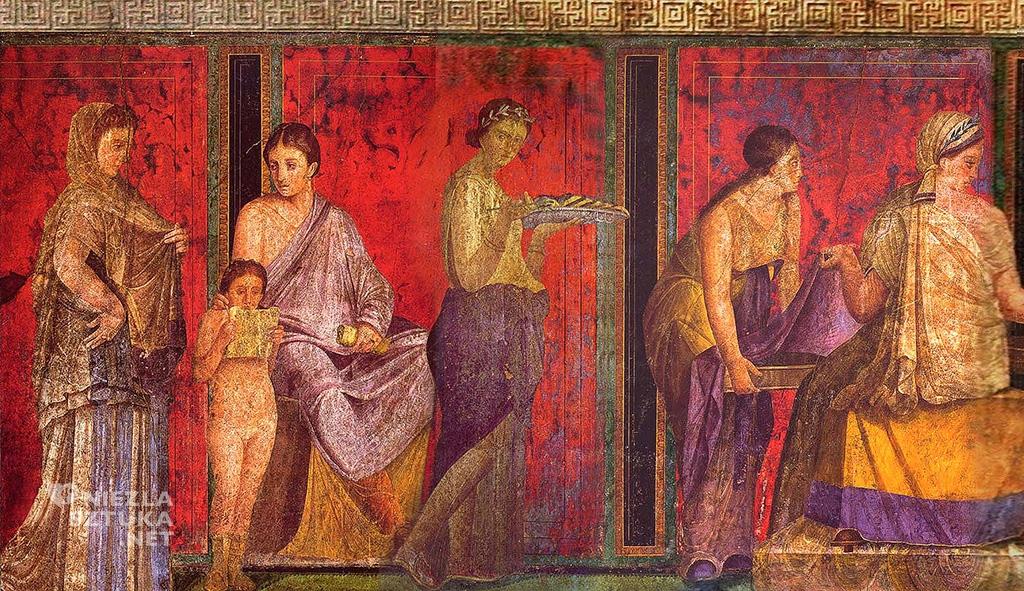 fryz Willa Misteriów Pompeje fresk Misteria dionizyjskie starożytność sztuka malarstwo niezlasztuka.net