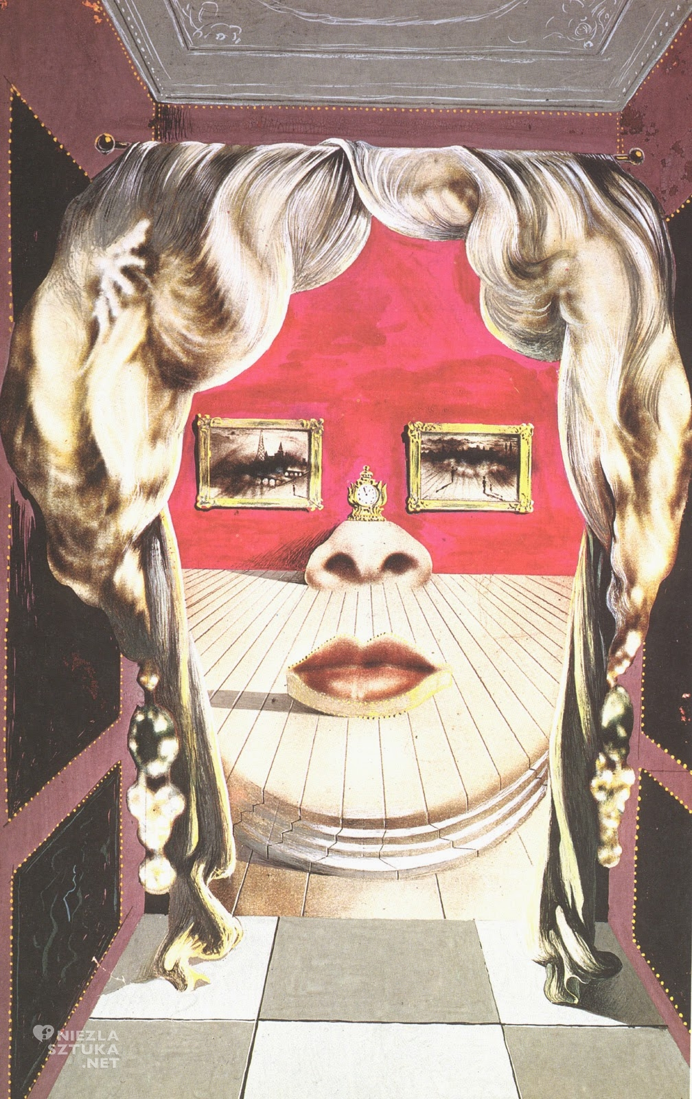 Salvador Dali, Twarz Mae West, którą może być używana jako surrealistycznie mieszkanie, 1934-35