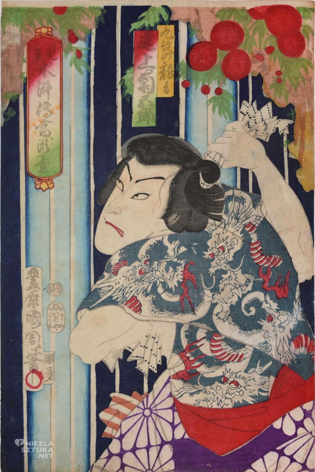 Kunichika, Kabuki Actor Onoe Kikugoro as Kyumon no Ryukichi, 1875