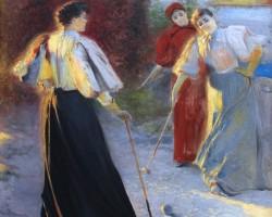 Leon Wyczółkowski, Gra w krokieta, malarstwo polskie, polska sztuka, Niezła Sztuka