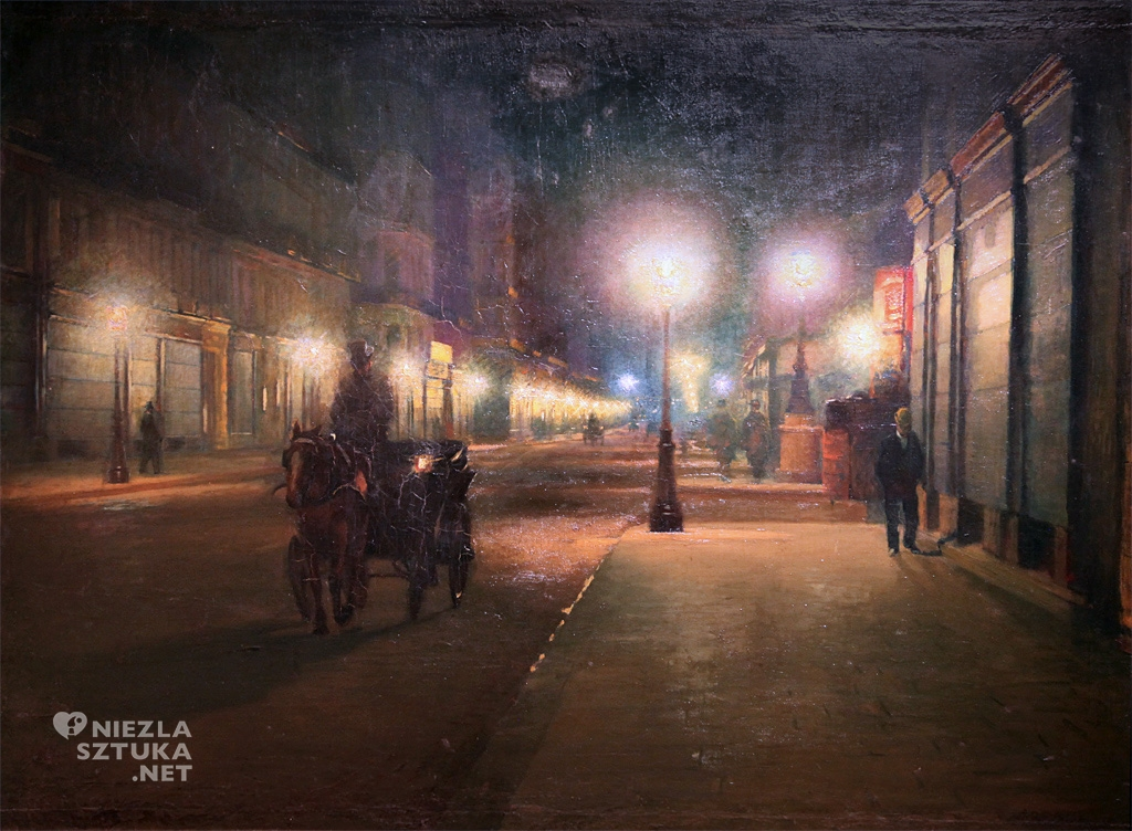 Ludwik de Laveaux, Paryż w nocy, malarstwo polskie, sztuka polska, Niezła Sztuka