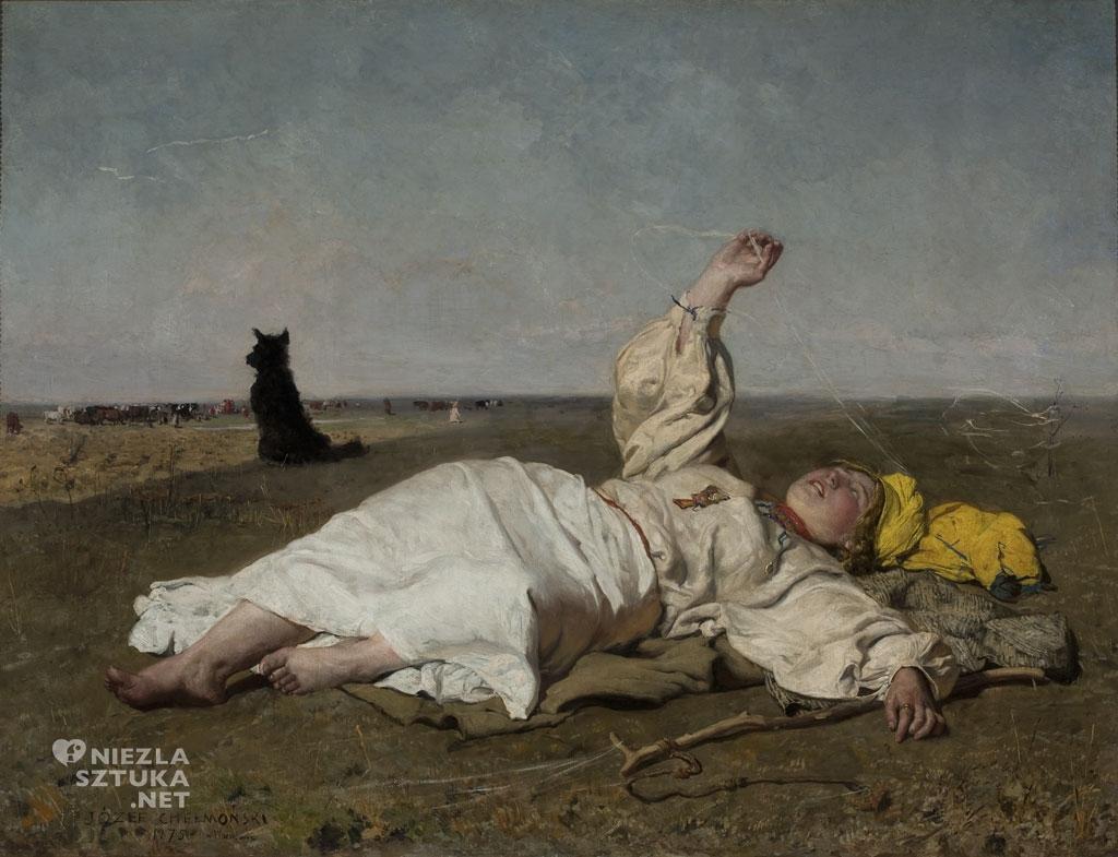 Józef Chełmoński, Babie lato, malarstwo polskie, polska sztuka, Niezła Sztuka