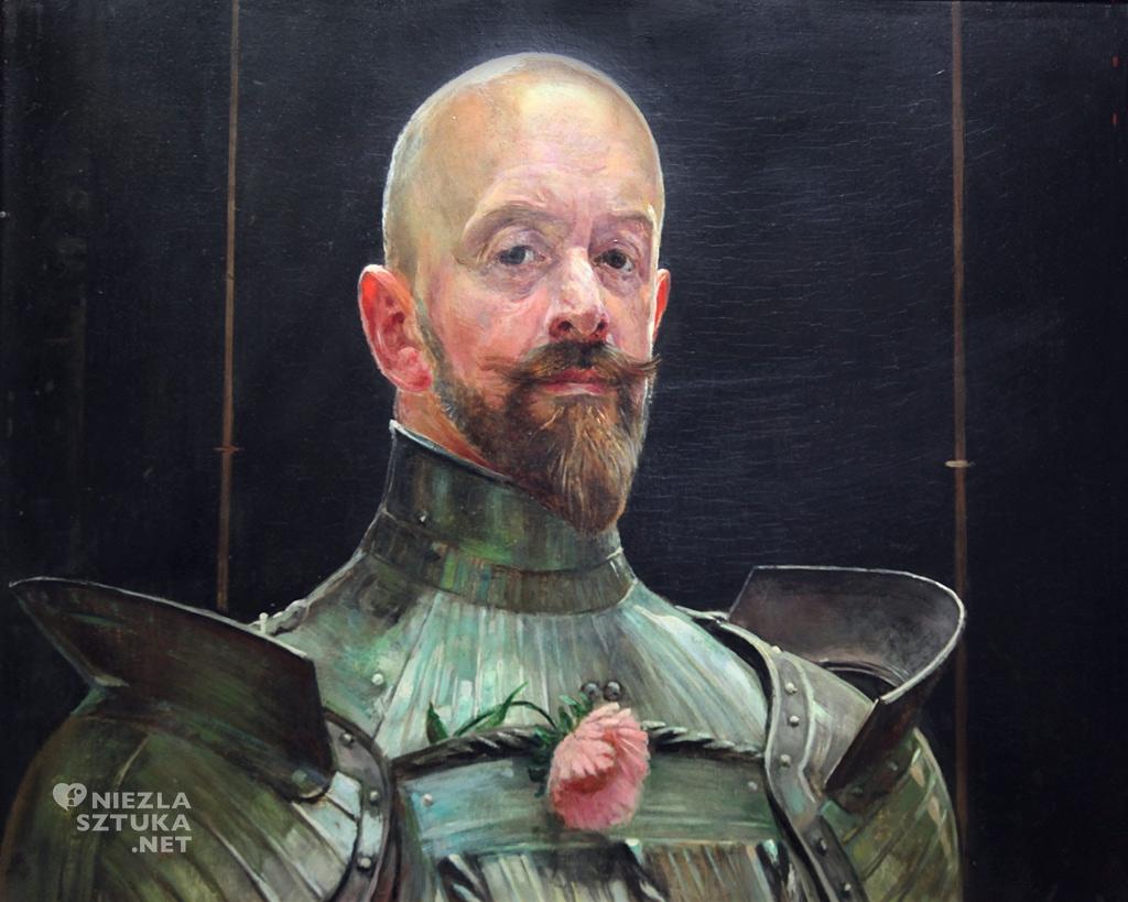 Jacek Malczewski, Autoportret w zbroi, sztuka polska, malarstwo polskie, Muzeum Narodowe w Warszawie, Niezła Sztuka