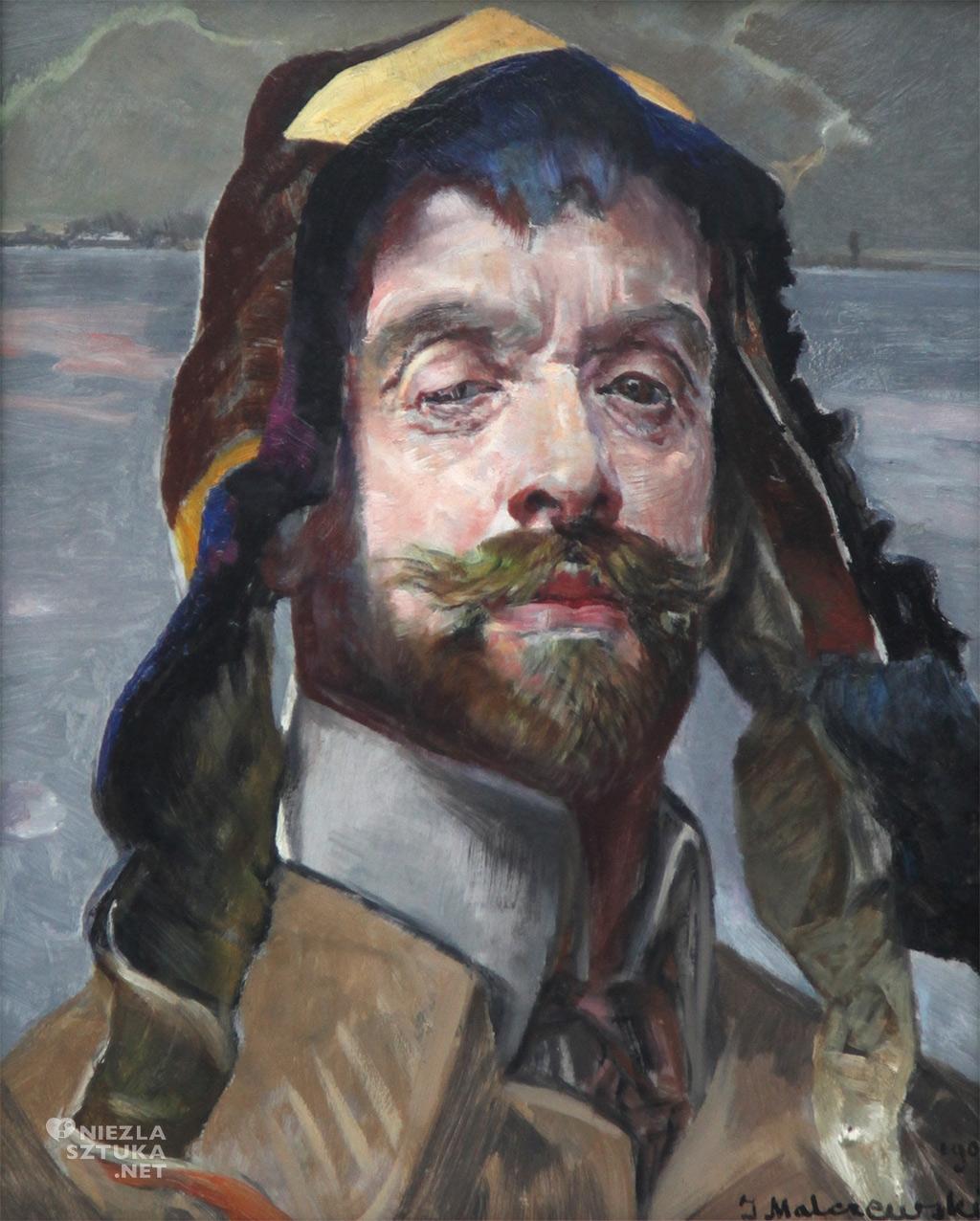 Jacek Malczewski, Autoportret w jakuckiej czapce, malarstwo polskie, sztuka polska, Niezła Sztuka