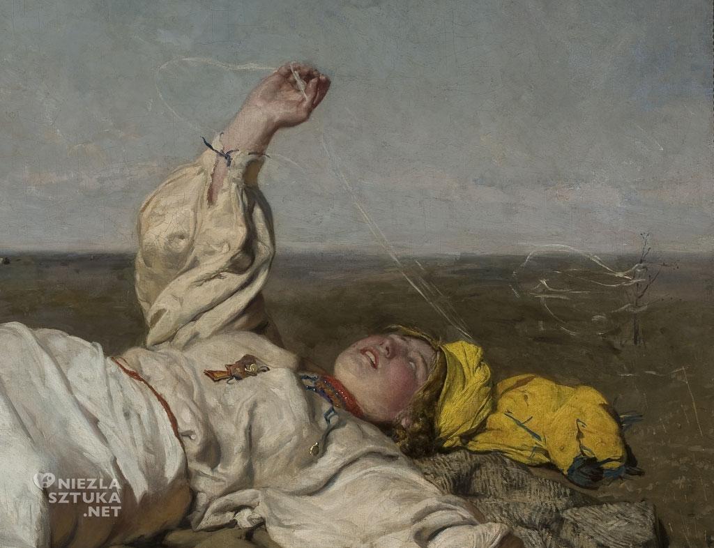 Józef Chełmoński, Babie lato, detal, malarstwo polskie, polska sztuka, Niezła Sztuka