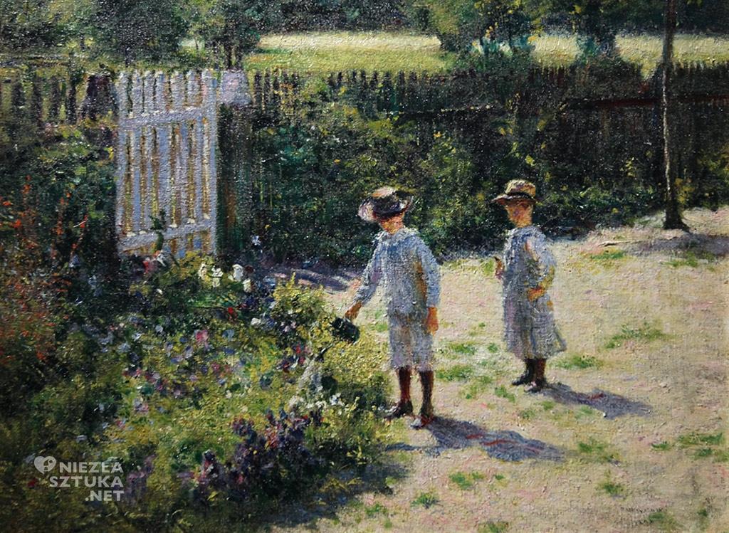 Władysław Podkowiński, Dzieci w ogrodzie, malarstwo polskie, sztuka polska, Niezła Sztuka