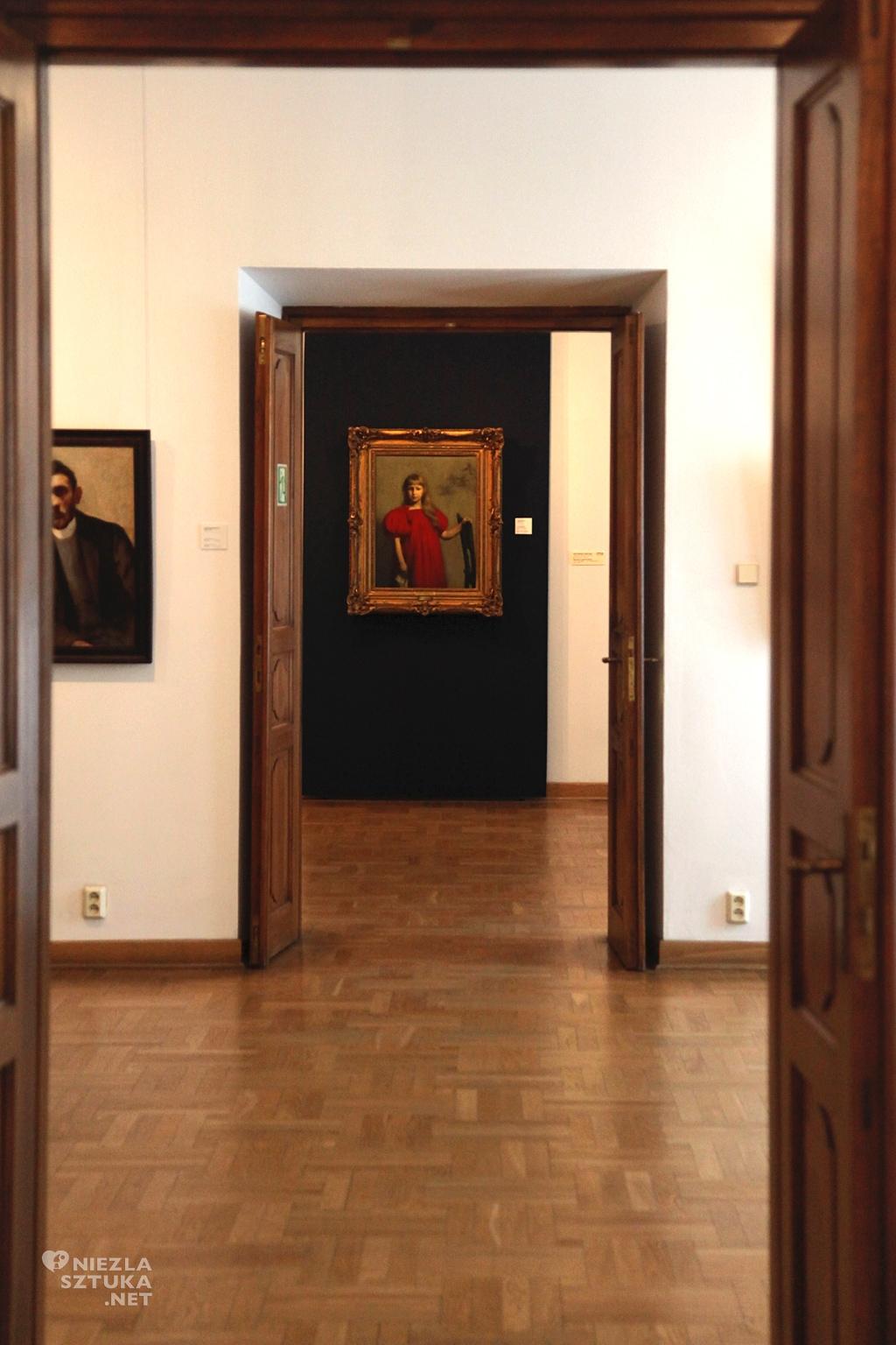 Józef Pankiewicz, Portret dziewczynki w czerwonej sukience, 1897, Muzeum Narodowe Kielce, sztuka polska, muzeum polskie, Niezła Sztuka