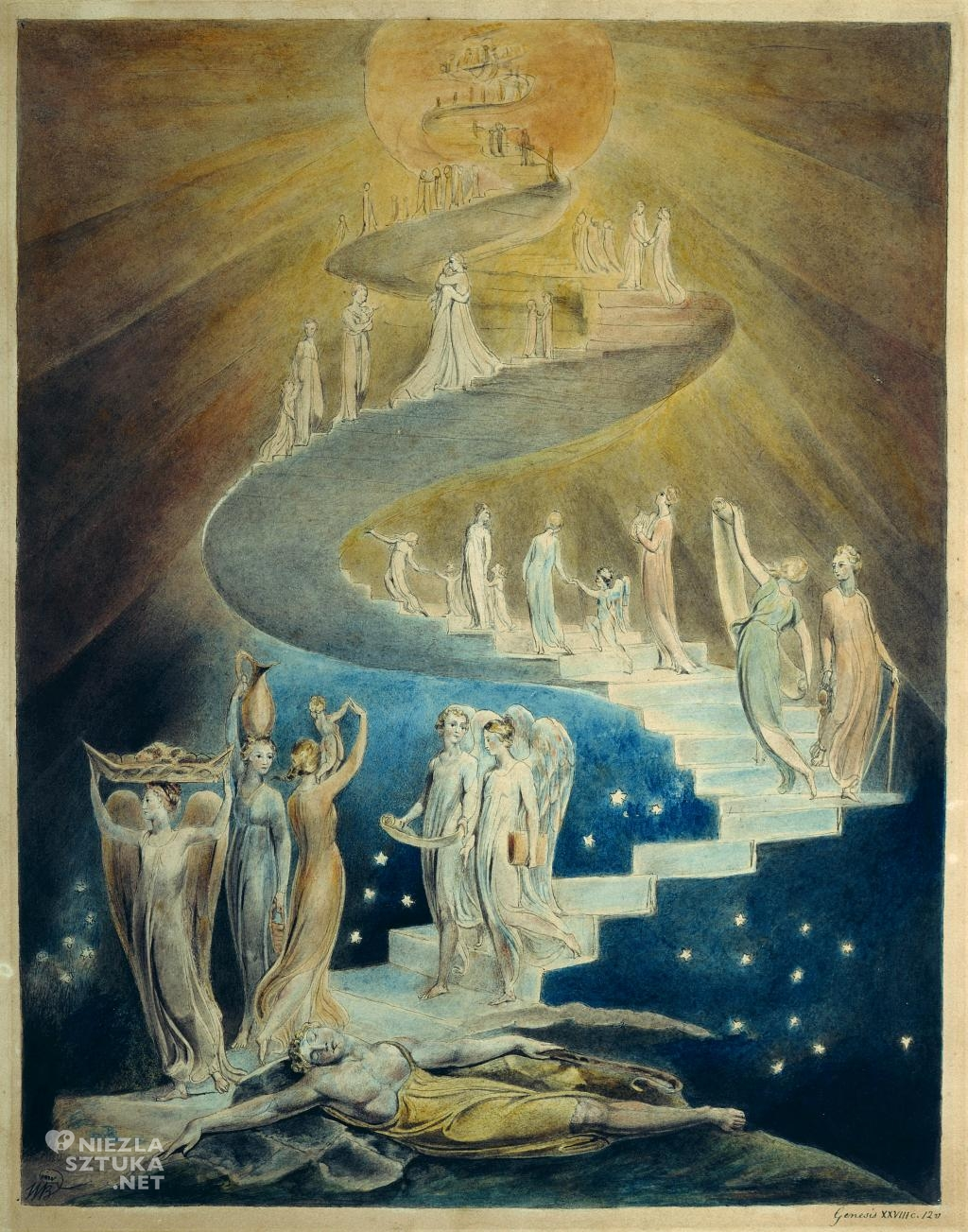 William Blake Drabina Jakuba, ok. 1805 (British Museum, Londyn)