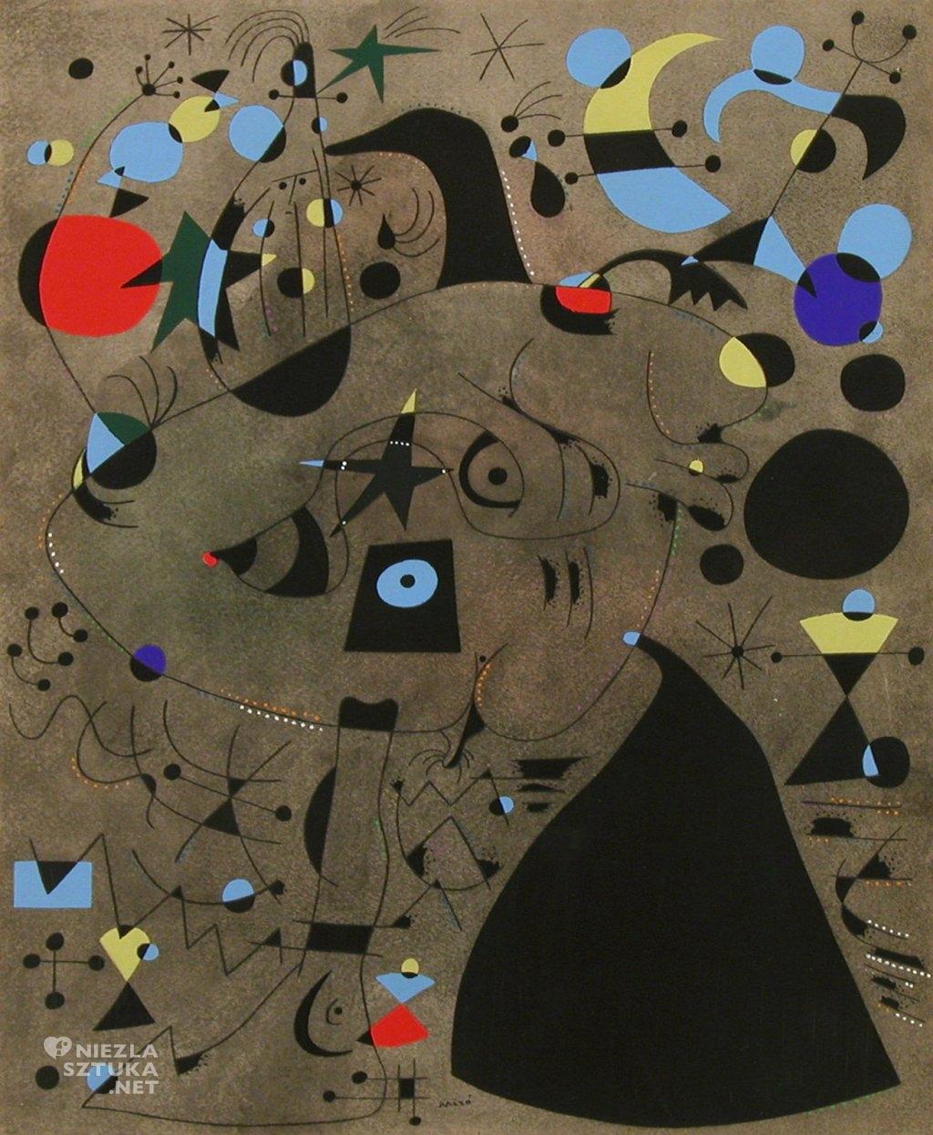 Joan Miró, Kobieta w nocy, sztuka hiszpańska, abstrakcja, Niezła Sztuka
