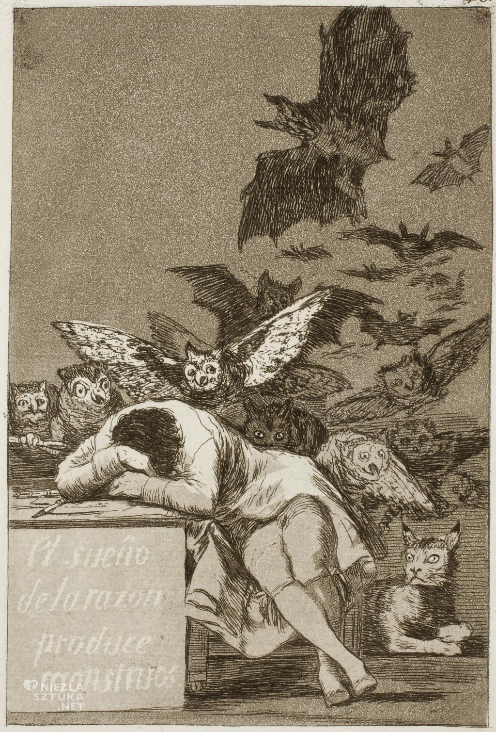 Francisco de Goya, Kiedy rozum śpi, budzą się potwory, grafika z cyklu Kaprysy, 1797-1798, Niezła sztuka