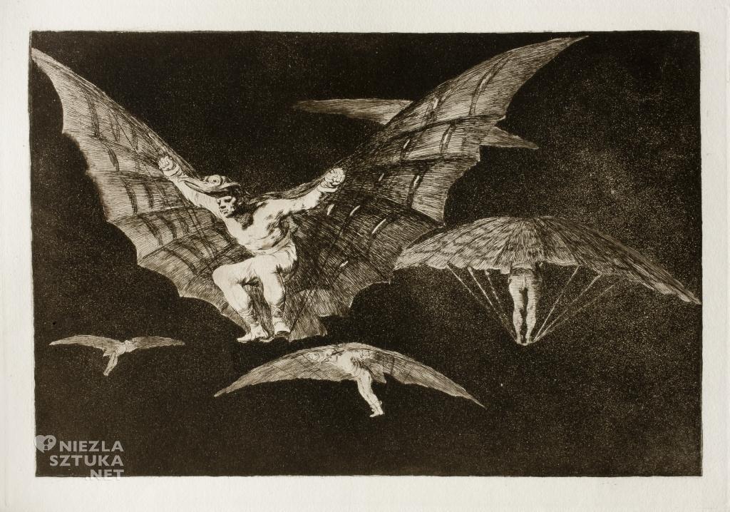 Francisco de Goya, Sposób na latanie, grafika nr. 13 z cyklu Szaleństwa, 1815 - 1823