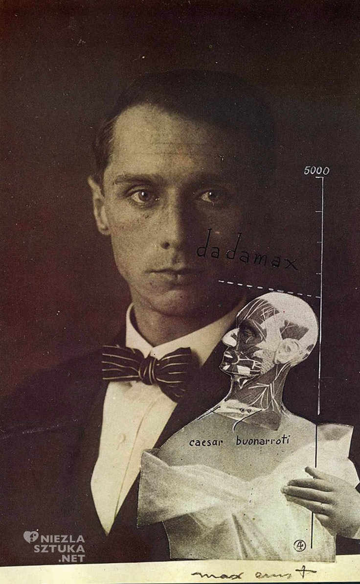 Max Ernst autoportret, surrealizm, surrealista, kolaże, Niezła sztuka