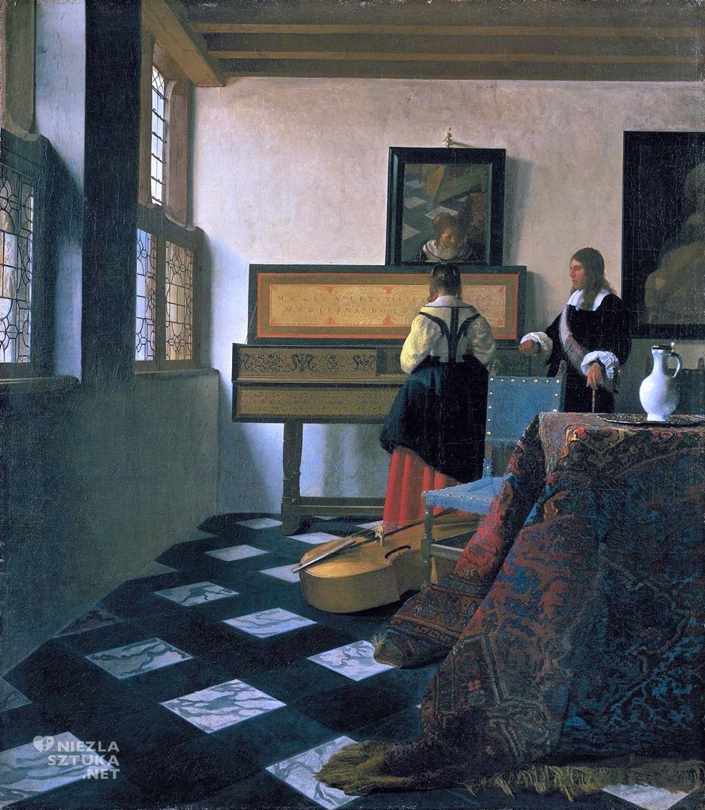 Znalezione obrazy dla zapytania Jan Vermeer van Delft, Lekcja muzyki, 1662