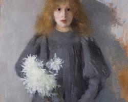 Olga Boznańska, Dziewczynka z chryzantemami, 1894, Muzeum Narodowe w Krakowie, portret, Niezła sztuka